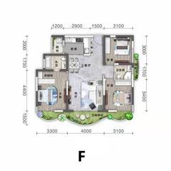 3室2卫2厅,F户型三室两厅双卫