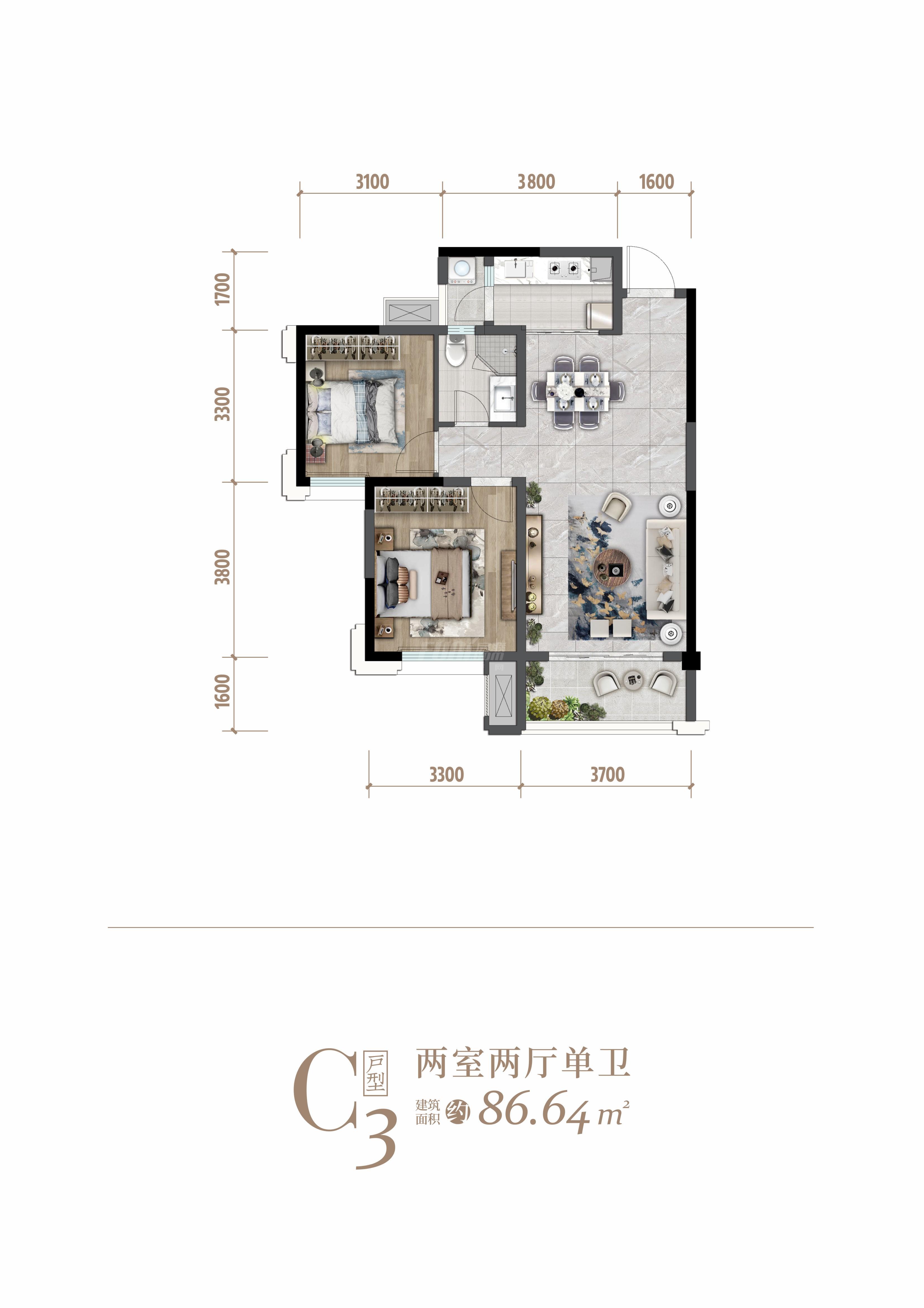 2室1卫2厅,C3户型两室两厅一卫