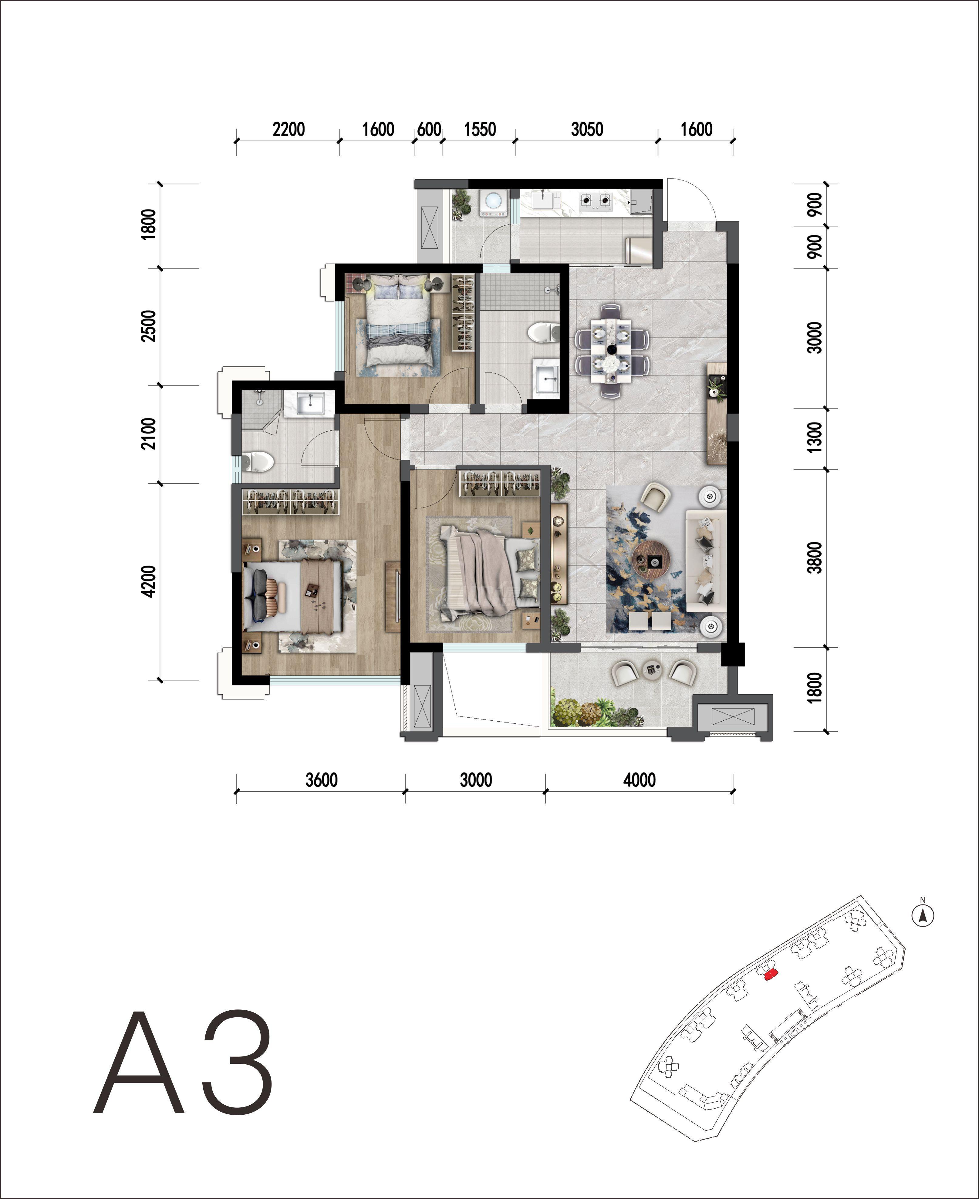3室2卫2厅,A3户型三室两厅双卫