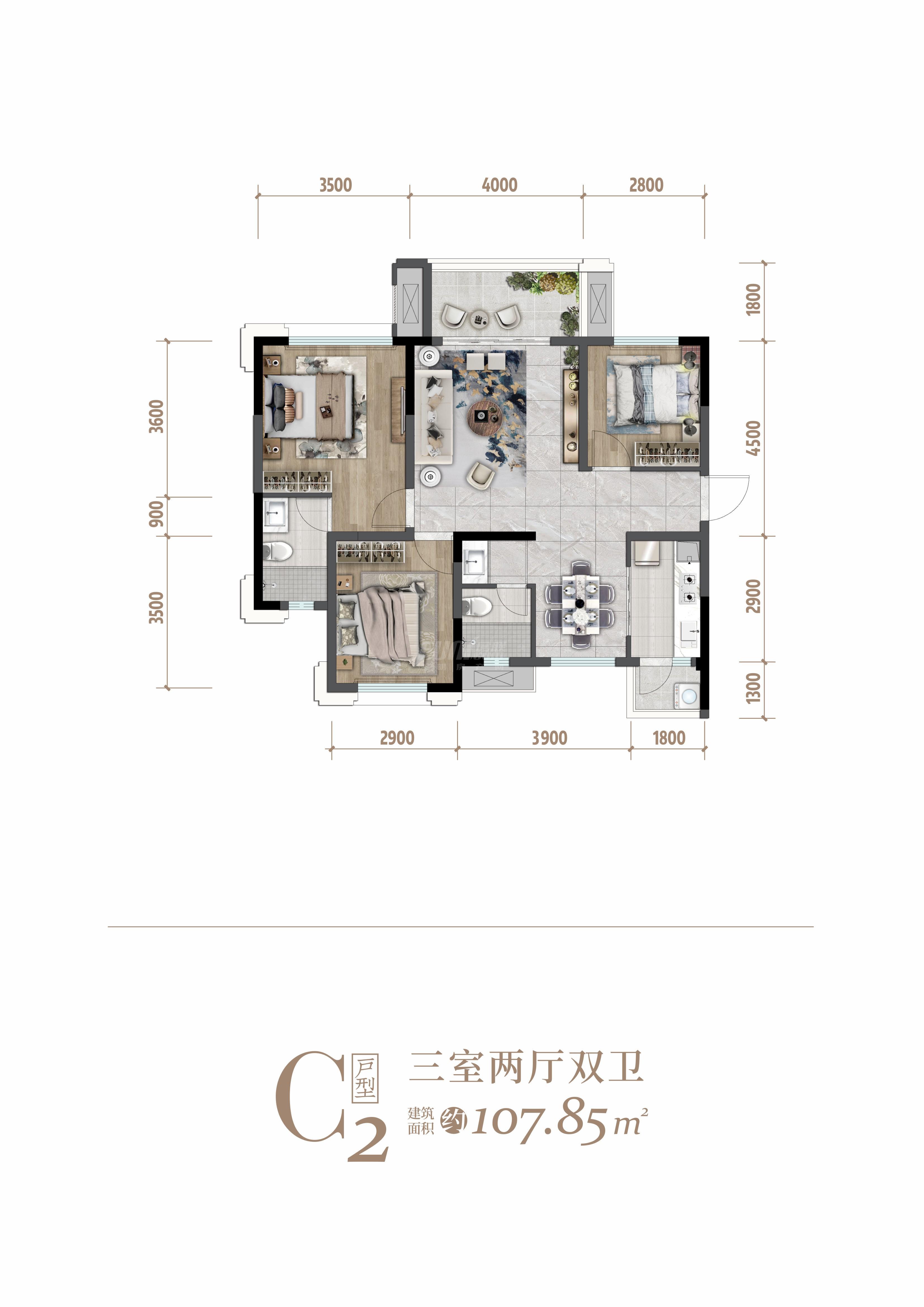 3室2卫2厅,C2户型三室两厅双卫
